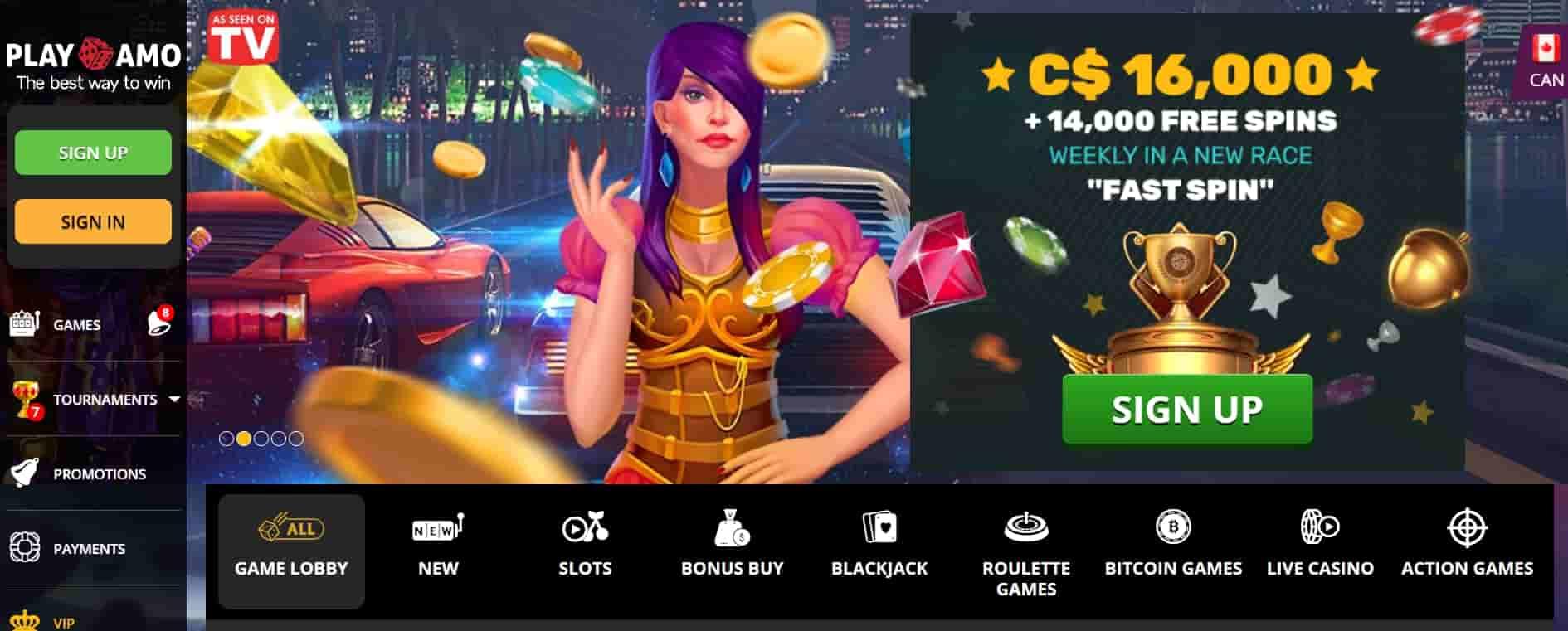 PlayAmo casino online canada