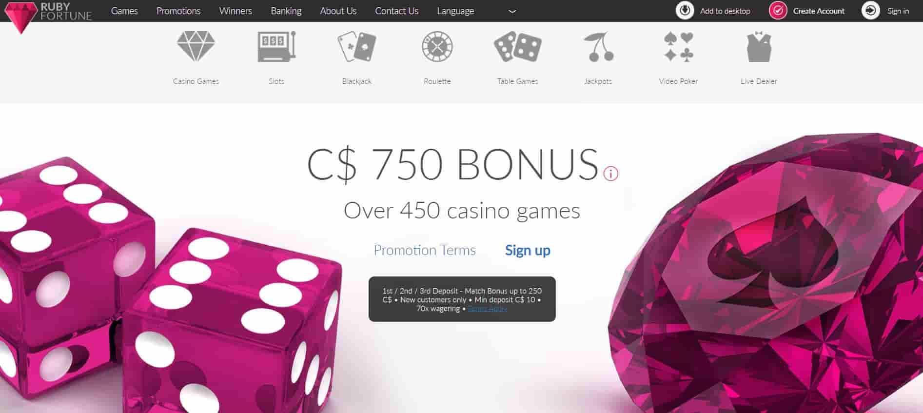 RubyFortune Bonus