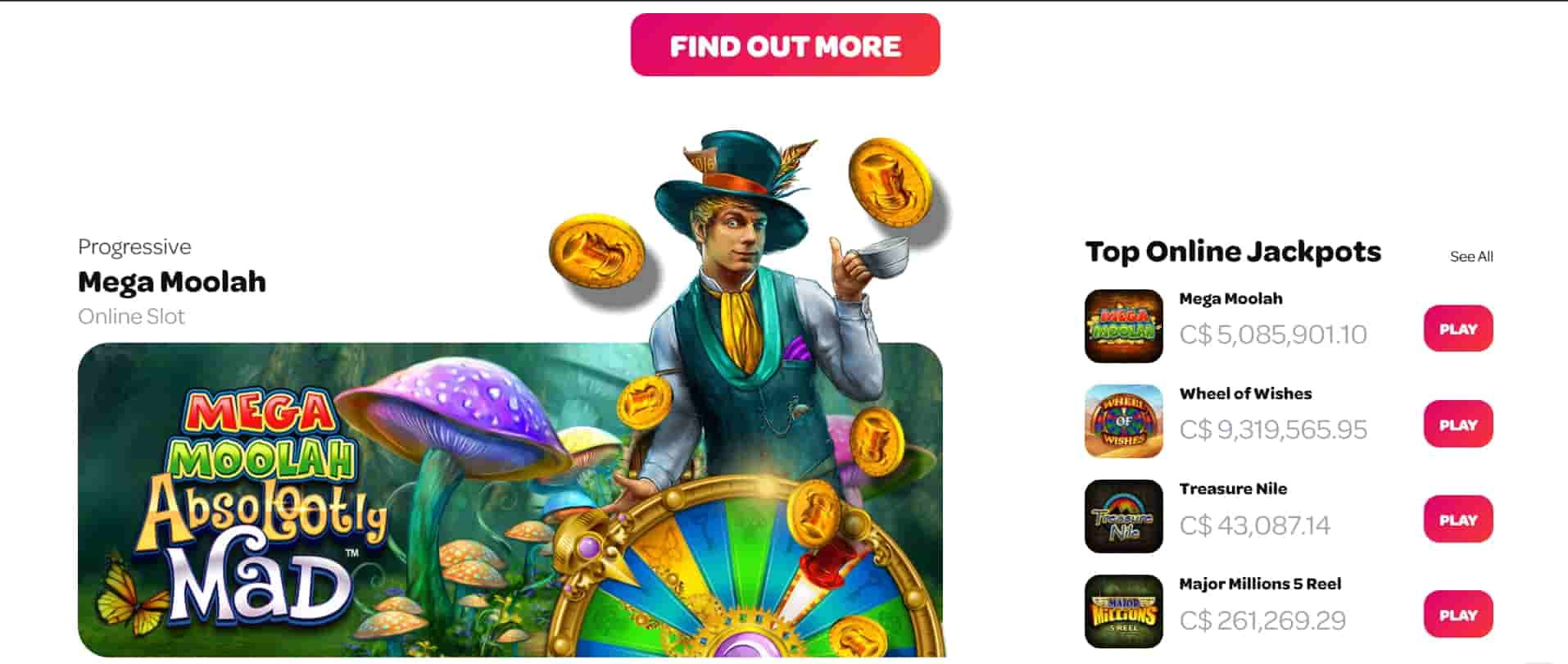 spin casino progressive slots