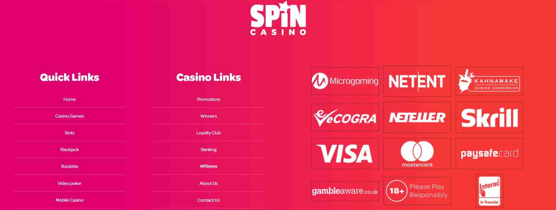 spincasino banking