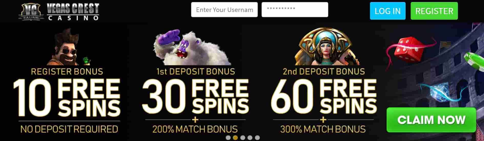 vegascrest casino bonus