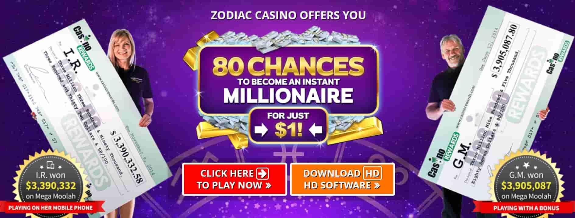 Zodiac Online Casino $1