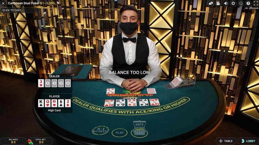 caribbean stud live deler poker game